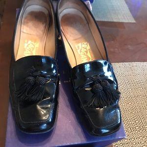 Stuart Weitzman patent loafer with tassel